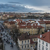 View of Charles Bridge and Prague city from Lesser Town Bridge Tower, Czech Republic