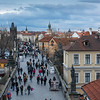 View of Charles Bridge from Lesser Town Bridge tower, Prague, Czech Republic