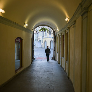 Rear view of man walking out of the house gate, Prague, Czech Republic