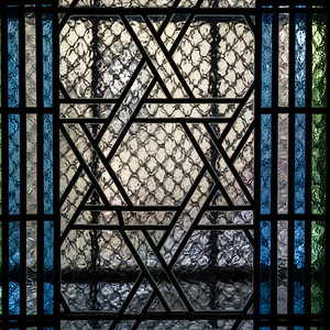 Window in Jewish Ceremonial Hall in Jewish Quarter, Prague, Czech Republic