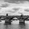 Charles bridge across Vltava River, Prague, Czech Republic