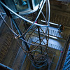 High angle view of elevator shaft and staircase on Old Town Hall Tower, Old Town, Prague, Czech Republic