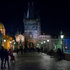 People on Charles Bridge with buildings in background, Old Town, Prague, Czech Republic