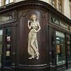 Carving on the exterior wall of a restaurant, Prague, Czech Republic