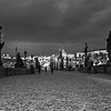 Charles bridge with buildings in Lesser Town in background, Prague, Czech Republic