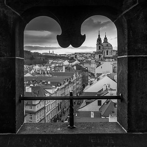 St. Nicholas Church viewed from Lesser Town Bridge Tower, Lesser Town, Prague, Czech Republic