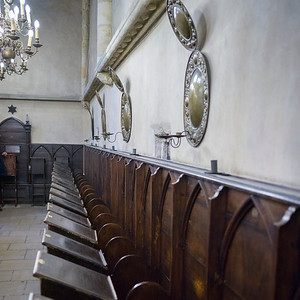Pews in a syngogue, Prague, Czech Republic