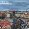 View of Prague City with Vltava River from the Lesser Town Bridge Tower, Czech Republic