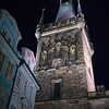 Low angle view of Old Town Bridge Tower at Charles Bridge, Prague, Czech Republic