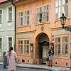 Three women on street, Prague, Czech Republic