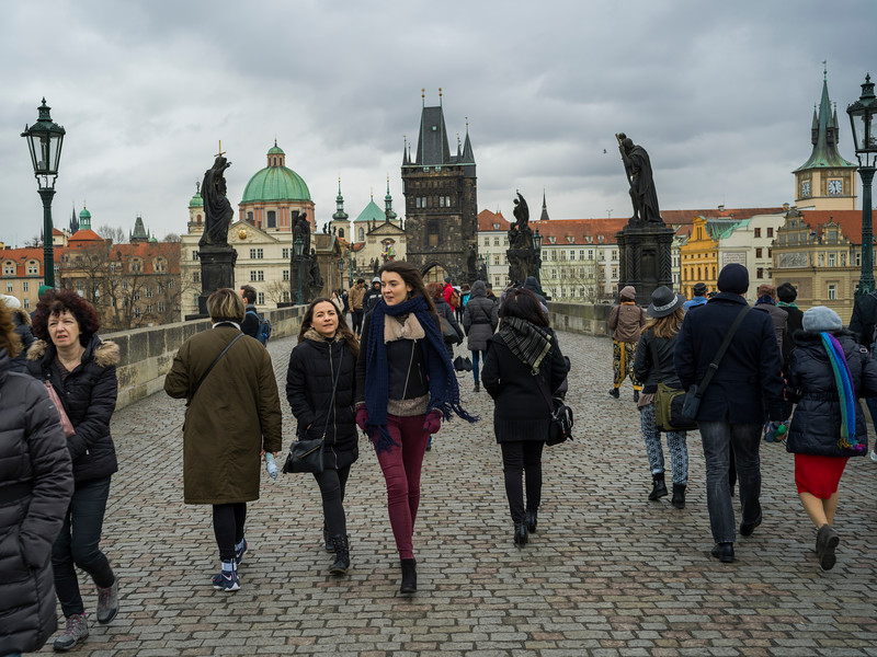 Tourists walking on Charles Bridge, Prague, Czech Republic