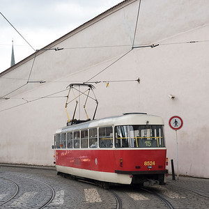 Tram moving on street, Prague, Czech Republic