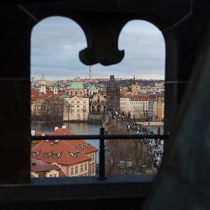 City viewed from Lesser Town Bridge Towers, Prague, Czech Republic