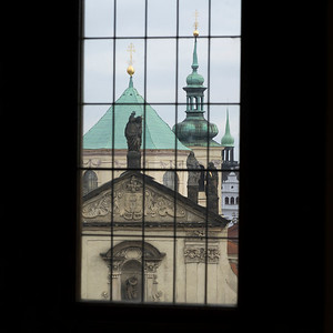 St. Salvator Church viewed from window of Old Town Bridge Tower, Prague, Czech Republic