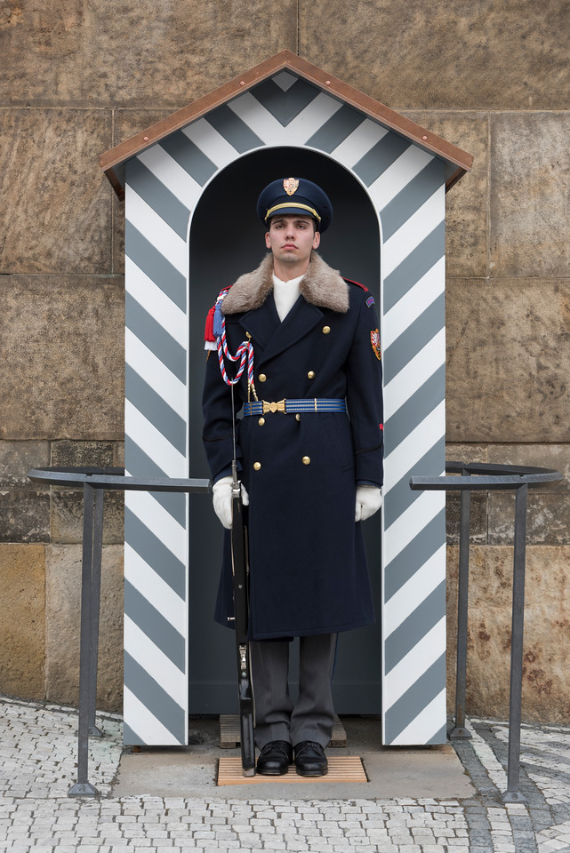 Castle guard on duty at Prague Castle, Prague, Czech Republic