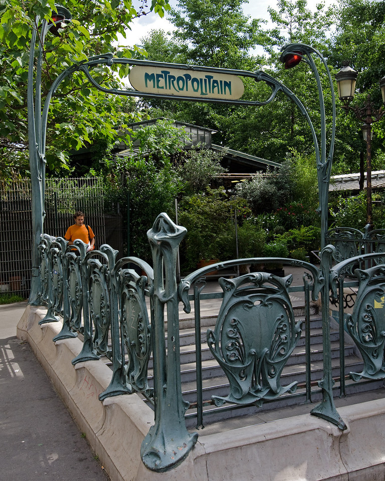 Metropolitan<br /> <br /> One of the original signs from the early 1900s marking the metro stop near Notre Dame.<br /> <br /> Paris, France
