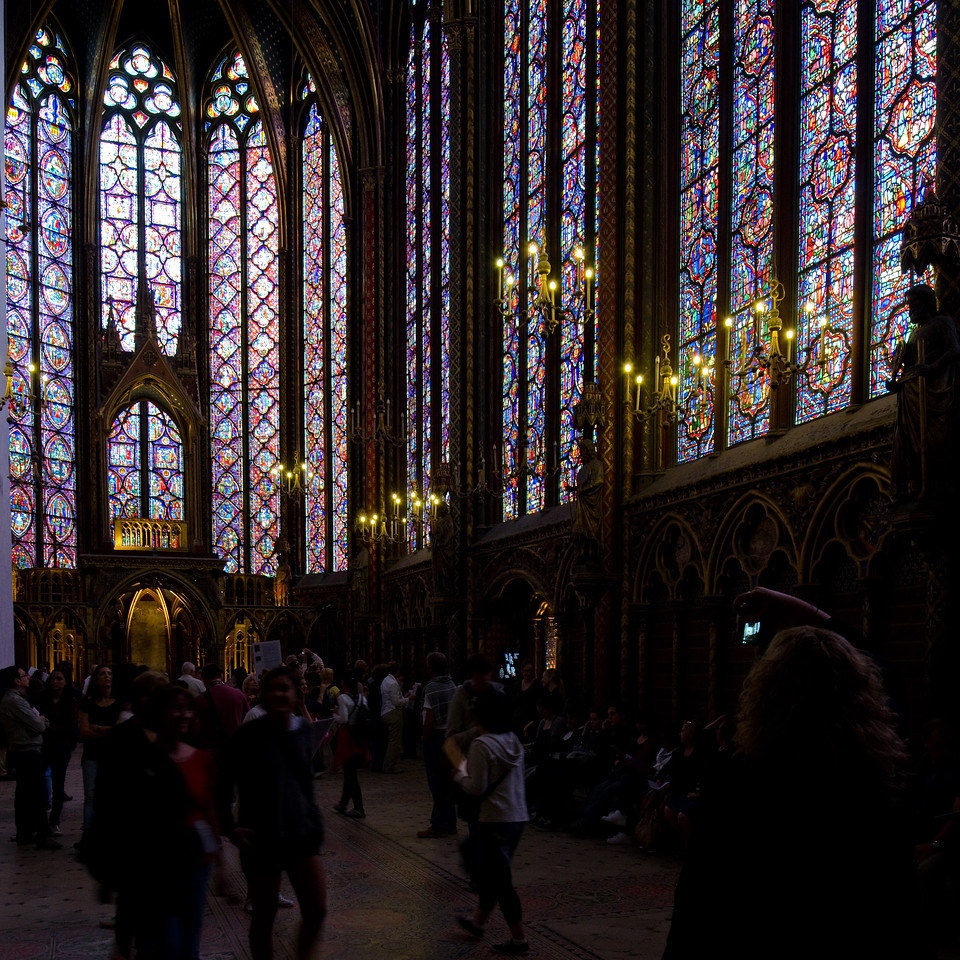 Eglise St Chapelle<br /> <br /> Stained glass on steroids!  A fifty foot tall chapel with 40 foot stained glass following the stories of the whole bible.  The rose window is Revelations.<br /> <br /> Paris, France