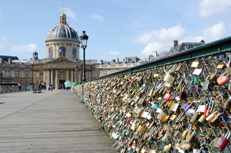 Institute de France<br /> <br /> From the lock-covered pedestrian bridge<br /> <br /> Paris, France