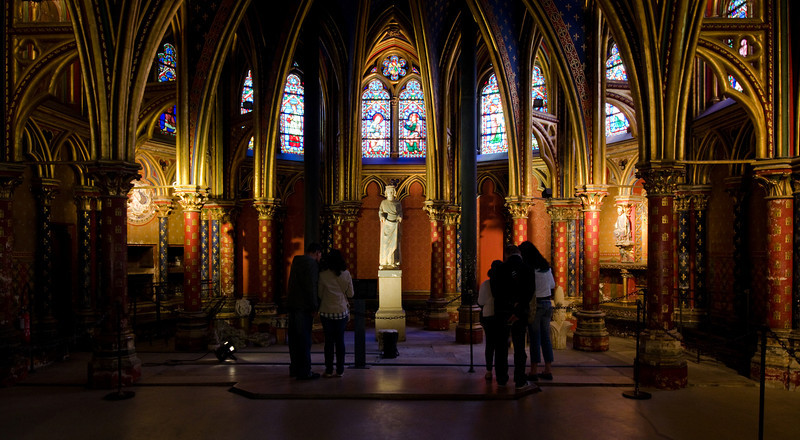 St Chapelle<br /> <br /> 1st floor, lacks the grandeur of the chapel above, but equally beautiful and much less crowded.<br /> <br /> Paris, France