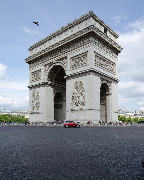 Arc de Triomphe<br /> <br /> This is a deceiving photo, as this particular timing shows only one vehicle in the frame.  One fraction of a second over thirty minutes produced this momentary empty scene... almost empty.<br /> <br /> Paris, France