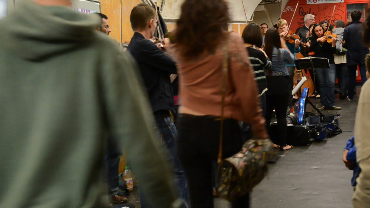 Paris Metro<br /> <br /> A 20 piece string group plays classical music between metro lines at Chatelet.  The talent of Paris street musicians made DC look pretty bad!