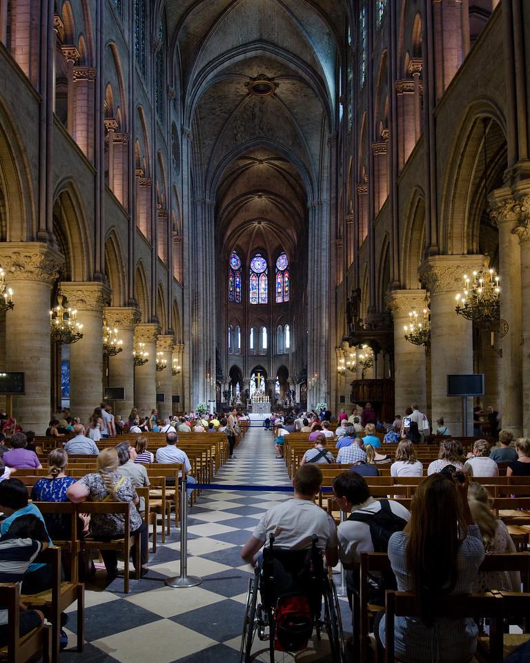 Notre Dame<br /> <br /> A view from the inside, which is too beautiful to describe.  Big and incredible.  NEED TO GO BACK!<br /> <br /> Paris, France