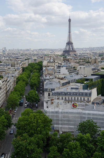 Eiffel tower from Arc de Triomphe<br /> <br /> Paris, France