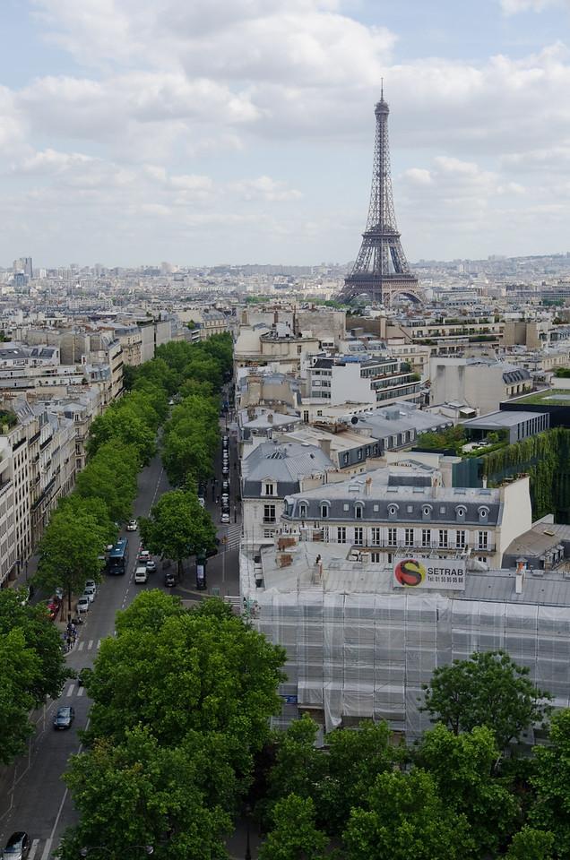 Eiffel tower from Arc de Triomphe<br /> <br /> Paris, France