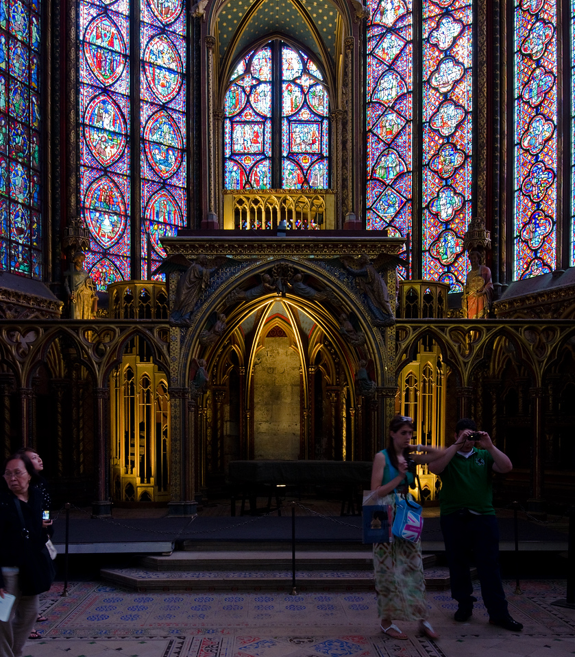 St Chapelle<br /> <br /> Closer view of the altar and some of the stained glass.  Definitely the most detailed of all the displays.<br /> <br /> Paris, France