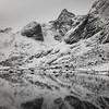 Reflection of mountain in water, Lofoten, Nordland, Norway
