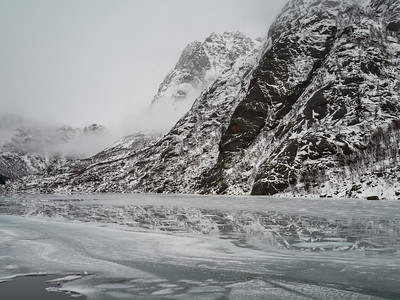 Reflection of mountain in sea, Lofoten, Nordland, Norway