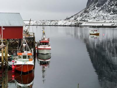 Boats moored at harbor, Lofoten, Nordland, Norway