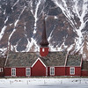 Church with mountain in the background, Flakstad Church, Lofoten, Nordland, Norway