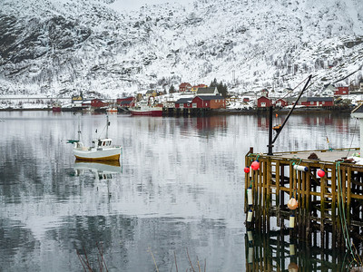 Fishing boat in sea, Lofoten, Nordland, Norway
