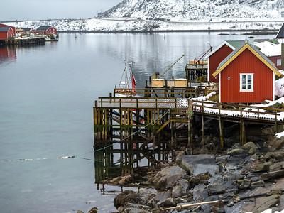 Stilt huts at waterfront, Lofoten, Nordland, Norway