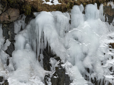 Close-up of Ice on rock formation, Lofoten, Nordland, Norway