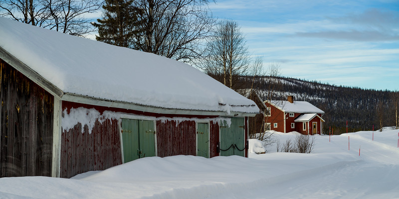 Barn in a snow covered field, Arjeplog, Norrbotten County, Lapland, Sweden