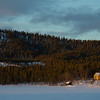 House on snow covered hill, Arjeplog, Norrbotten County, Lapland, Sweden