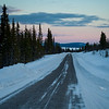 Road passing through snow covered landscape, Arjeplog, Norrbotten County, Lapland, Sweden