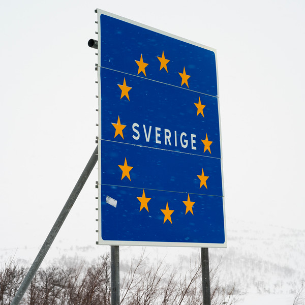 Low angle view of signboard in snow, Arjeplog, Norrbotten County, Lapland, Sweden