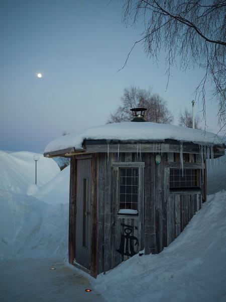 Structure in snow, Norrbotten County, Lapland, Sweden
