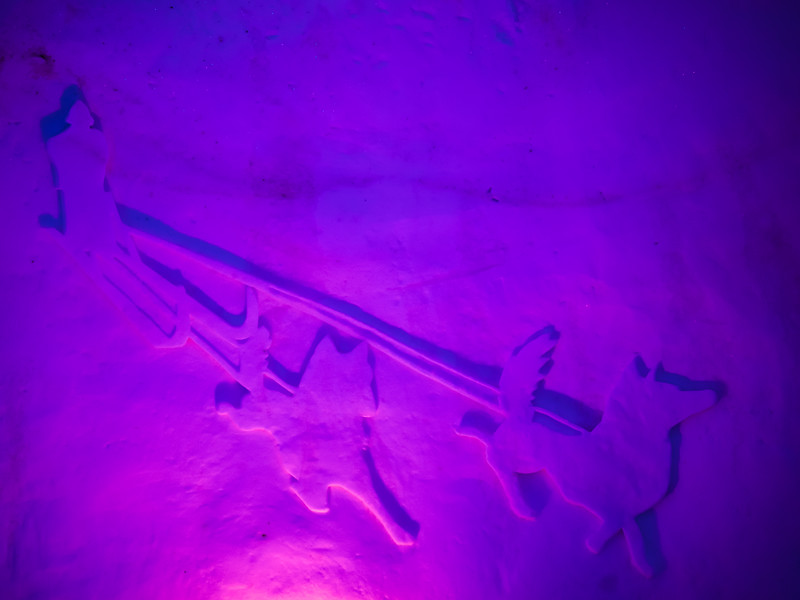 Carving on the wall in Icehotel, Norrbotten County, Lapland, Sweden