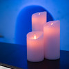 Close-up of burning candles in Icehotel, Norrbotten County, Lapland, Sweden