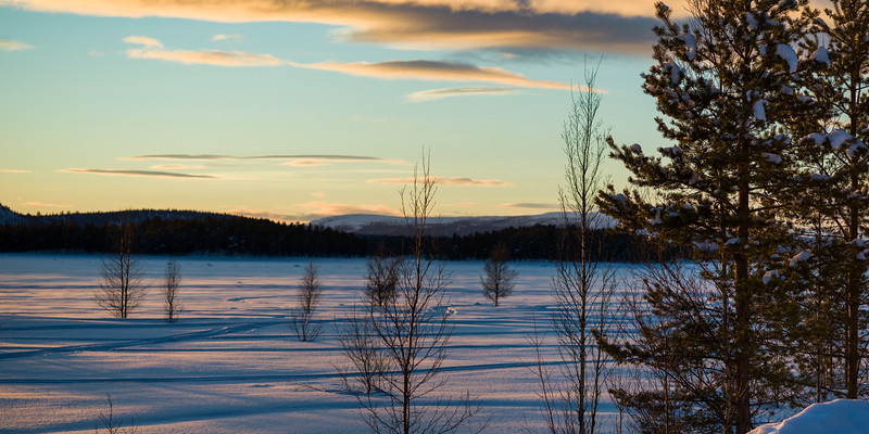 Scenic view of snow covered landscape, Arjeplog, Norrbotten County, Lapland, Sweden