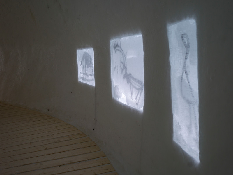Painting on wall in Icehotel, Norrbotten County, Lapland, Sweden