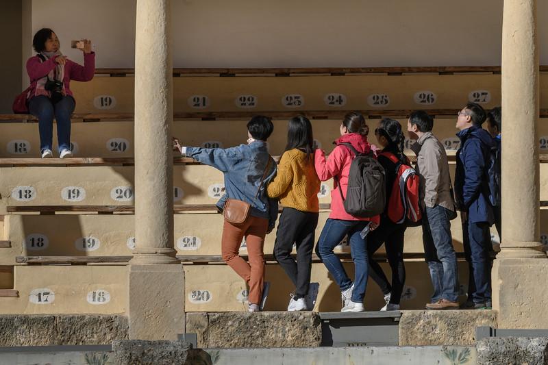 Tourists at a stadium, Ronda, Malaga, Andalusia, Spain