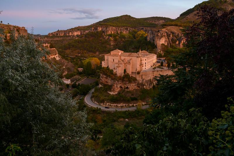 Elevated view of San Pablo Monastery on cliffs, Barrio De Tiradores, Cuenca, Cuenca Province, Castilla La Mancha, Spain