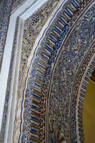Carving detail on ceiling, Alcazar Palace, Plaza De Espana, Seville, Seville Province, Spain