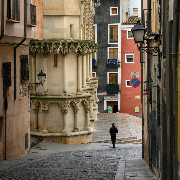 Building and streets of Plaza Mayor at Cuenca, Cuenca Province, Castilla La Mancha, Spain