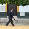 Profile view of a businessman walking on the street, Santa Cruz, Seville, Seville Province, Spain